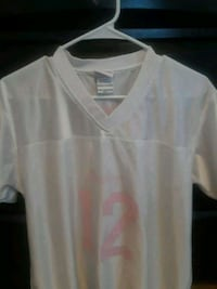 white and pink v-neck 12 jersey Lubbock, 79423