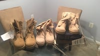 Three pairs of brown leather combat boots. One OCP two tan color boots, all size 9.5W $125 takes all three. Arlington, 22206