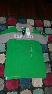 green and gray Tommy Hilfiger polo shirt