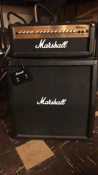 Black marshall guitar amplifier and amplifier 2215 mi