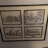 black and white 4 panel house sketches framed artwork Welland, L3C 5V1