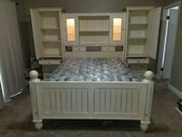 white wooden bed frame with mattress Bakersfield, 93312
