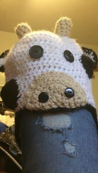 white and black cow knitted cap Surrey