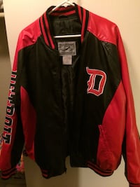 Black and red leather letterman jacket