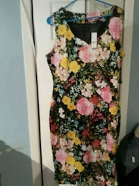 women's black and pink floral sleeveless dress Freeport, 11520