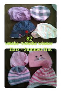 Girls 9-18m Hat Lot (8 pieces) Mississauga