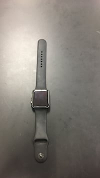 space grey aluminum case Apple brand watch with black sports band