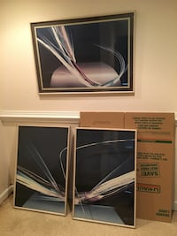 Set of 3 abstract art portraits, about 24x36 Montgomery Village