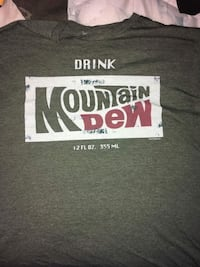 black, white and maroon Drink Mountain Dew printed t-shirt Greene, 17222