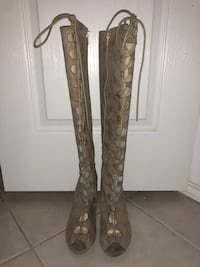 Nude suede boots size 7