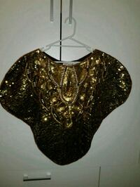 svart og gull sequined scoop neck poncho Fjellhamar