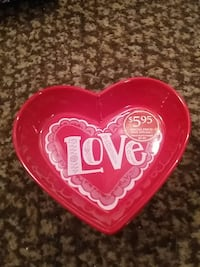 red heart shape ceramic plate Lindsay