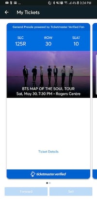 BTS MAP OF THE SOUL TOUR TICKET