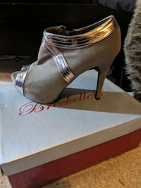 Gray and silver womens heels with zip up side  Pittsburgh