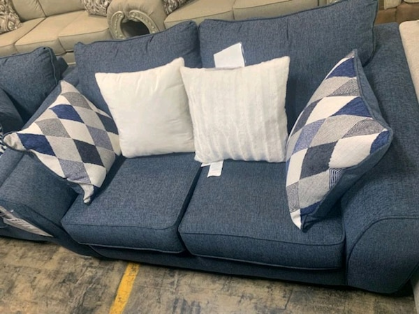 separation shoes 29b57 56a35 Albany Crosstown Denim Sofa and Loveseat
