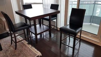 Set of Brown Wooden Dining Table and 4 Chairs