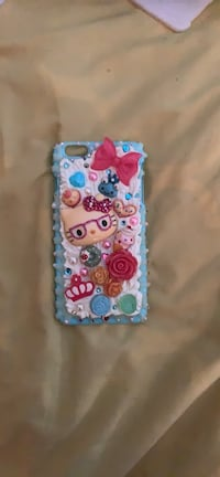 Cream and frosted hello kitty iPhone 6 Plus case handmade