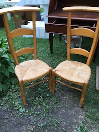 Two Wood Wicker BottomPrayer Chairs Laurel, 20708