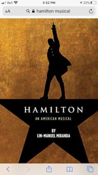 Hamilton musical Sat Mar 7th - 8 pm Vaughan, L6A 1K3