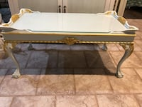 Rectangular antique gold leaf pale blue coffee table with removable glass top Wading River, 11792