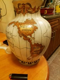 map of the world vase
