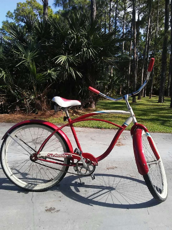 99ce097b76f Used red white and black hardtail schwinn beach cruiser for sale in ...