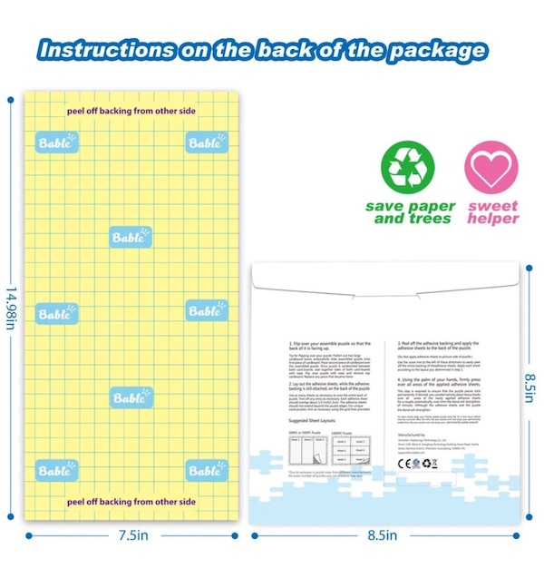 Bable Puzzle Saver Peel Stick 12 Sheets Adhesive Paper Jigsaw