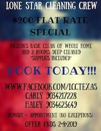 House cleaning $75+ for basic cleaning Sherman