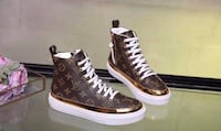 pair of brown leather high-top sneakers Brossard, J4Z 3C2