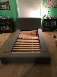 Black and white wooden bed frame (twin)