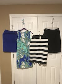 All size 10  but the Stripe it skirt is a medium all in excellent condition very nice work clothes 3 skirts and one dress  all for 20 Harpers Ferry, 25425