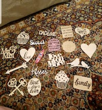 lot of 19 wood cut outs