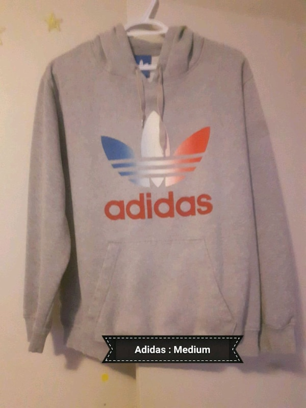 gray and red adidas pullover hoodie