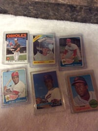 Six baseball trading cards