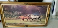 brown wooden framed painting of horse North Chicago, 60088
