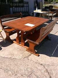 Two wooden benches $50 each plus matching table Phenix City, 36869