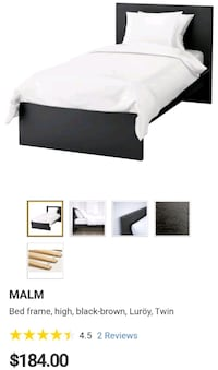 IKEA black wooden bed frame with mattress  563 km