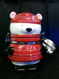 """Swiss Miss Bear container 8""""tall"""