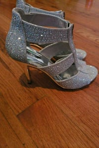 pair of gray glittered peep-toe platform stilettos Manassas, 20110