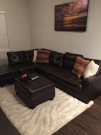 Dark Brown leather sectional sofa with ottoman Norcross, 30071