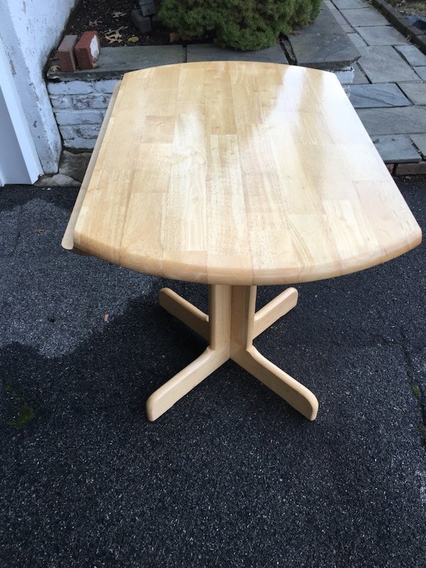 Wood Table With Fold Down Side