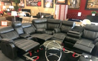 3 Pcs Charcoal Recliners Sectional w/storage •Just