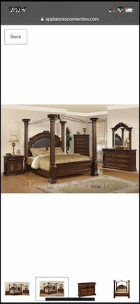 Brown wooden bed frame great condition needs rails Raleigh, 27610