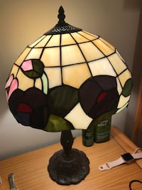 Yellow, brown, and pink stained glass table lamp Miami Gardens, 33055