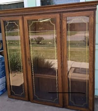 brown wooden framed glass display cabinet Norman, 73069