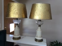 Pair of white ceramic with gold vintage lamps Solvay