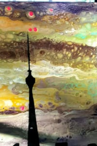 24x12 inches Toronto skyline fluid  painting  Richmond Hill, L4C 3R1