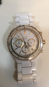 round silver chronograph watch with link bracelet Charlotte Hall, 20622