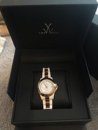 Toy watch rose gold and white ceramic band with mother of pearl face Centre Wellington, N1M