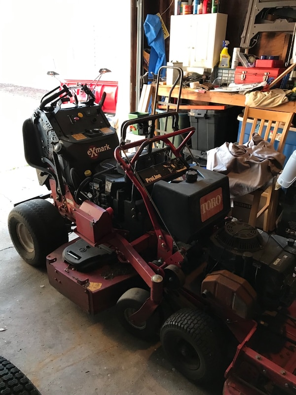 2 52in exmark stand on mowers one has 74 hrs the other has 1000 with a  brand new engine with paperwork , 48 in toro 800 bucks 36 in toro 2000 36  in